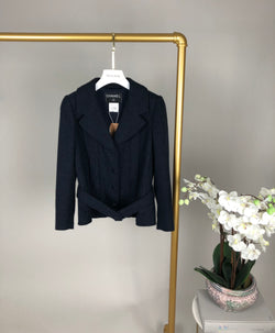 Chanel Navy Glitter Cropped Belted Coat Size 36 (UK10)