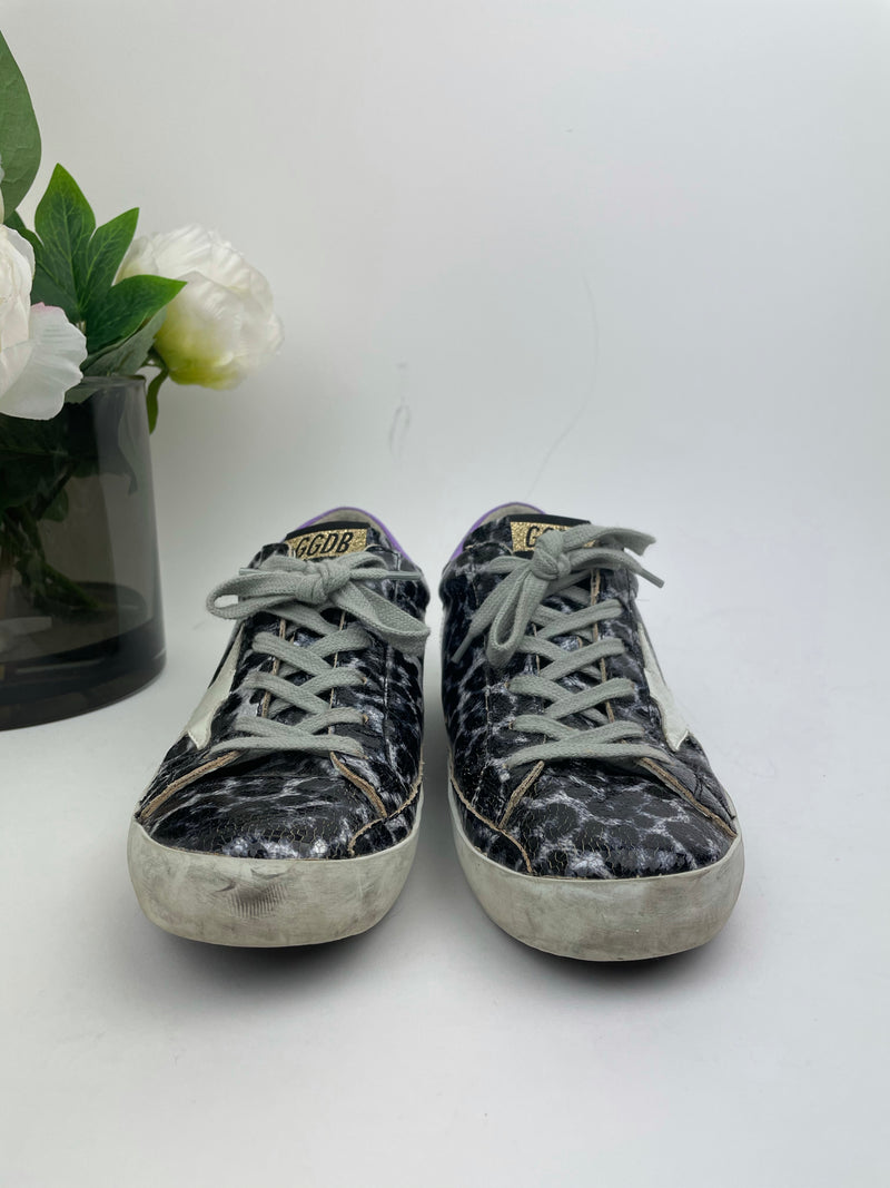 Golden Goose Grey Patent Leopard Superstar Trainers Size 38