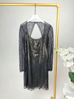 Emilio Pucci Black and Gold Lace Dress Size 12UK