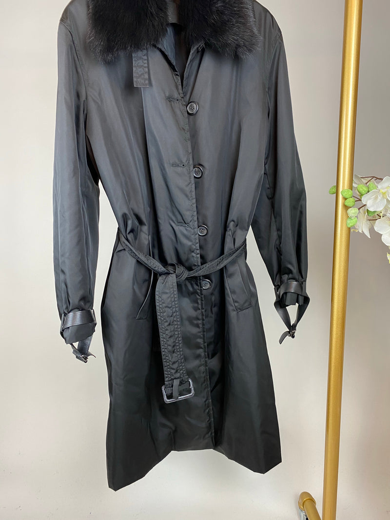 Prada Black Trench Coat with Detachable Fur Collar Size 46 (UK12-14)