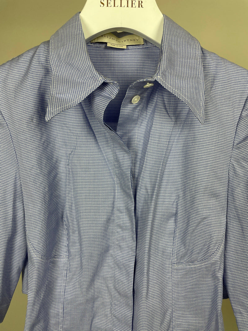 Stella McCartney Powder Blue Dogtooth Shirt Size 34