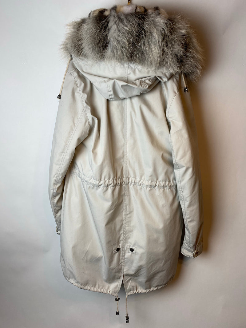 FF Collection Off White Parka with Mink and Fox Interior Size M