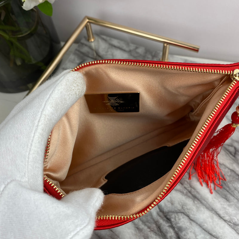 Charlotte Olympia Red Satin Clutch with Bead and Tassel Zip Pull