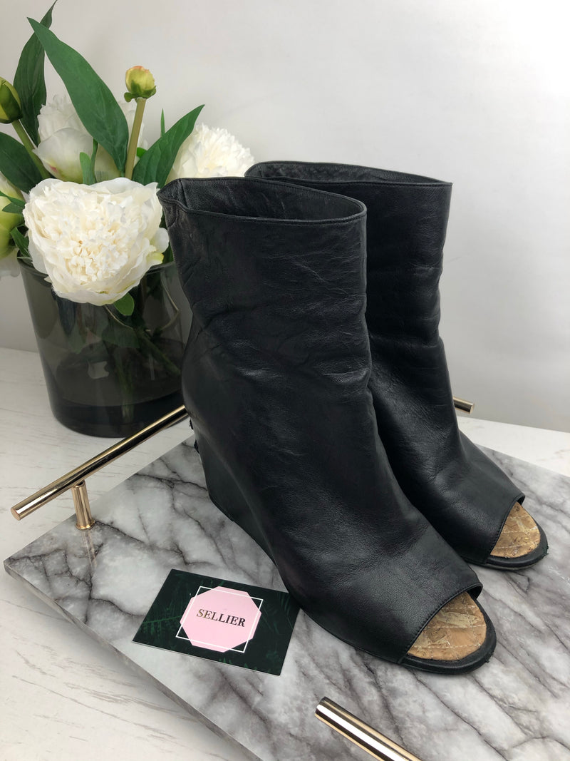 Chanel Black Leather Peep-Toe Boots Size 39.5