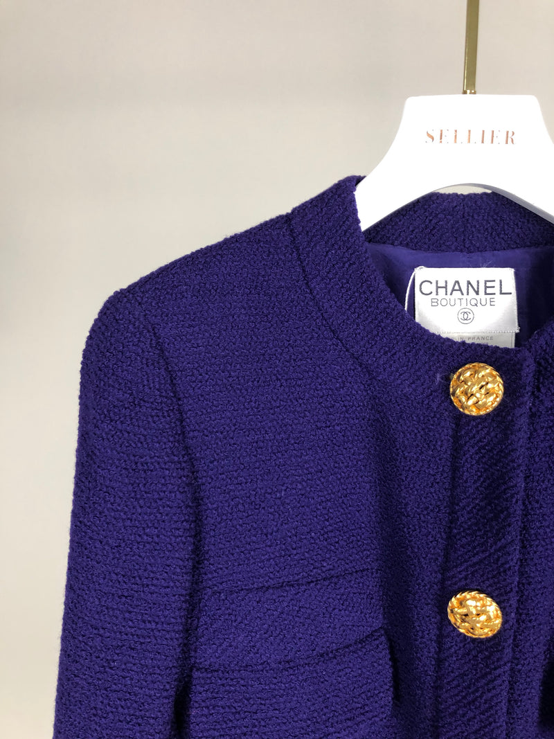 Chanel Purple Tweed Blazer with Gold Button Details Size UK12