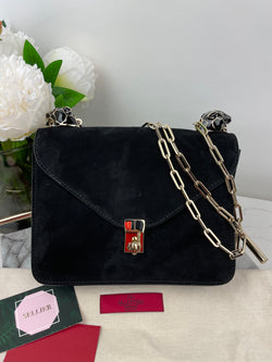 Valentino Enamel Panther Crossbody Bag Suede Black