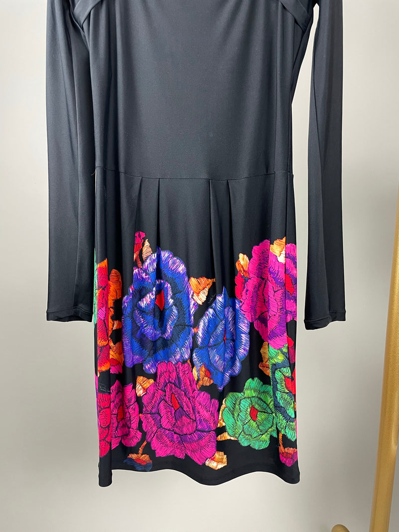 Roberto Cavalli Black Square Neck Floral Dress Size 40