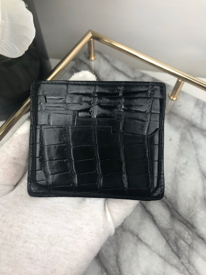 Zilli Black Crocodile Card Holder