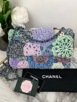 Chanel Single Flap Bag in Blue and Purple Tone Crochet