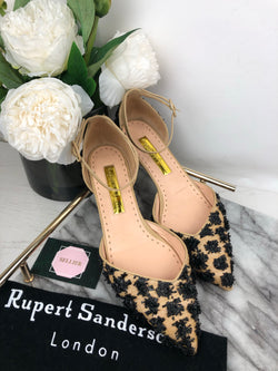 Rupert Sanderson Nude and Black Tweed Effect Pumps Size 40