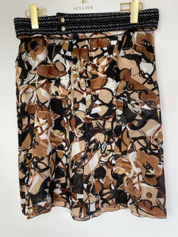 Chanel Brown Silk Pattern Skirt Size 42