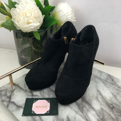 Yves Saint Laurent YSL Black Suede Ankle Boots with Side Zip Size 36