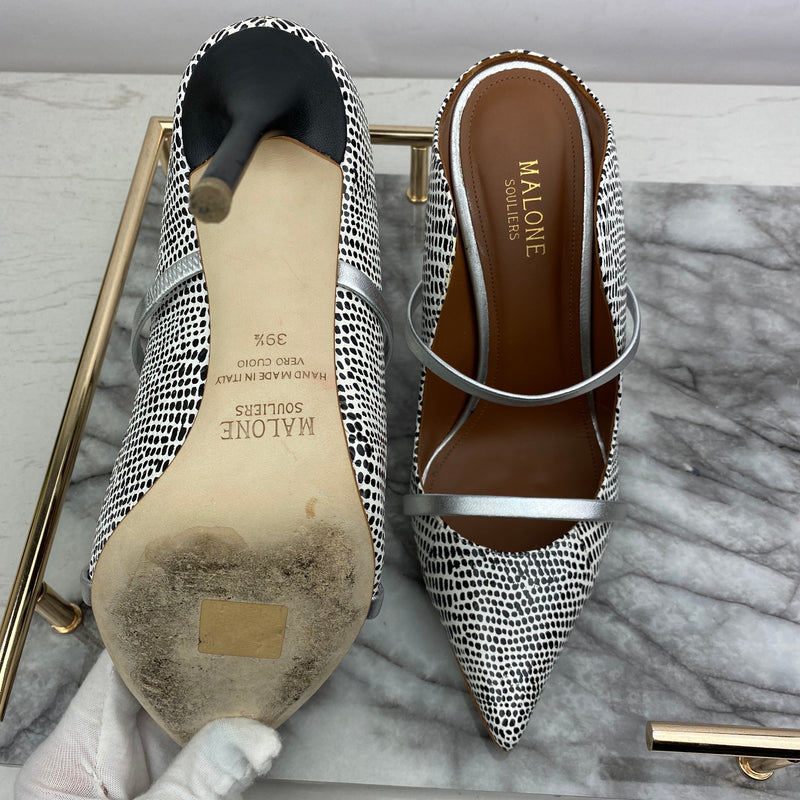 Malone Souliers Black and White Heeled Mules Size 39.5