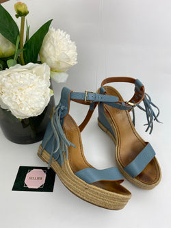 Valentino Powder Blue Woven Wedges Size 39