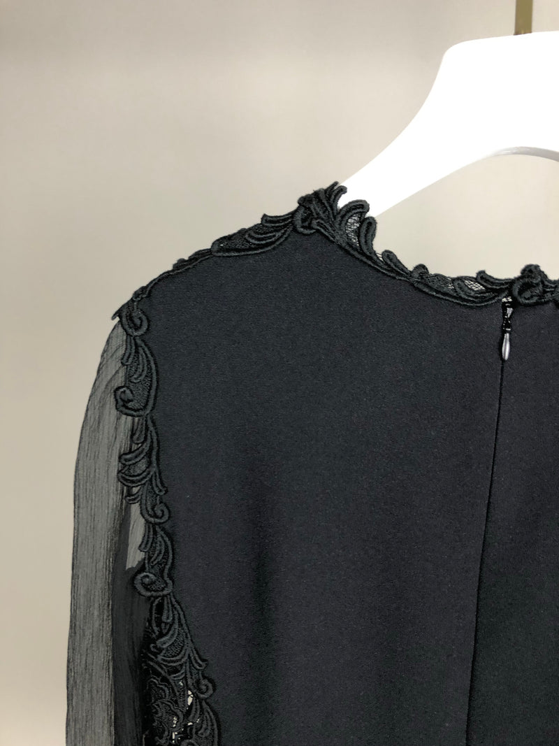 Prada Black Lace Side Panel Blouse Size IT40 (UK8)