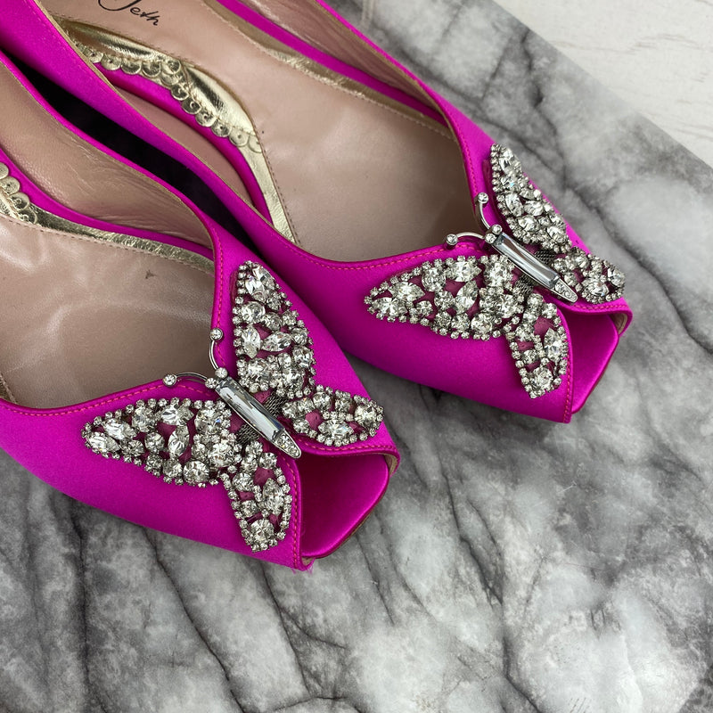 Aruna Seth Pink Satin Butterfly Crystal Heels Size 39