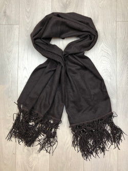 Givenchy Brown Cashmere Scarf with Fringe Detail