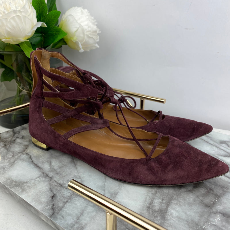 Aquazurra Burgundy Pointed Toe Pumps Size 40