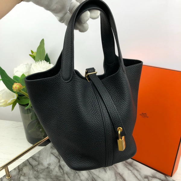 Hermes Picotin 18cm in Black Togo with Gold Hardware