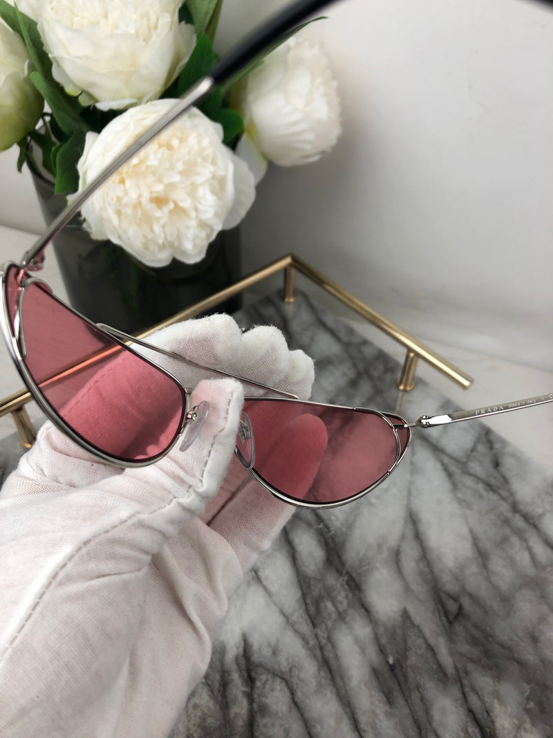 Prada Pink Cat Eye Sunglasses with Metal Frame