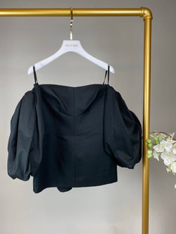 Ellery Black Bell Sleeve Top Size UK6