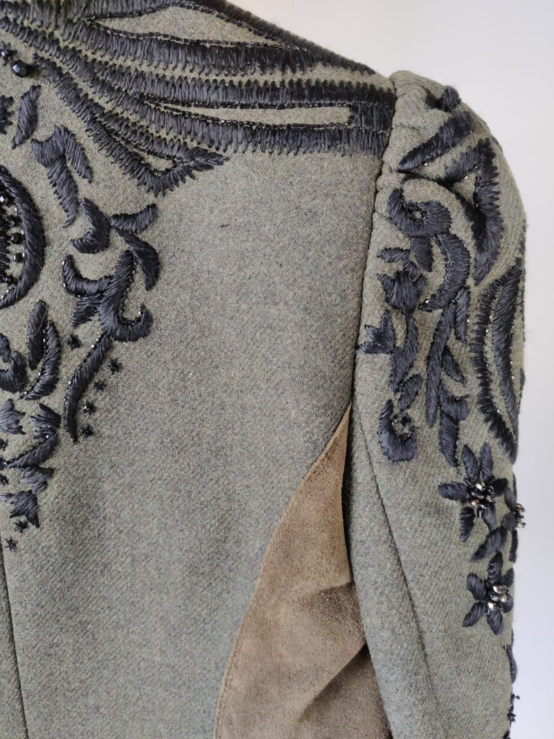 Emilio Pucci Khaki Wool Coat with Embroidered Beaded Sleeve Detailing Size 36 (UK 8)