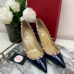 Valentino Navy and Nude Rockstud Court Heels Size 40.5