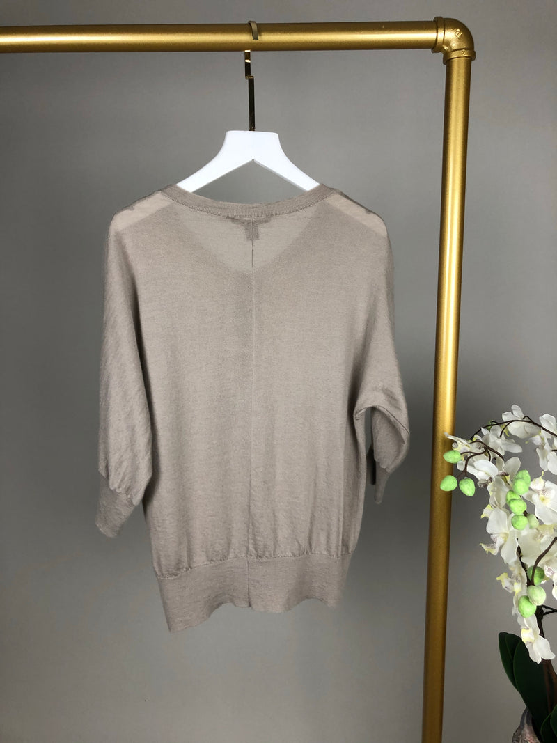 Louis Vuitton Grey Cashmere Top with Crystals Size XL (UK12-14)