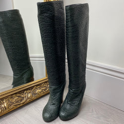 Aperlai Dark Green Embossed Heeled Boots Size 37