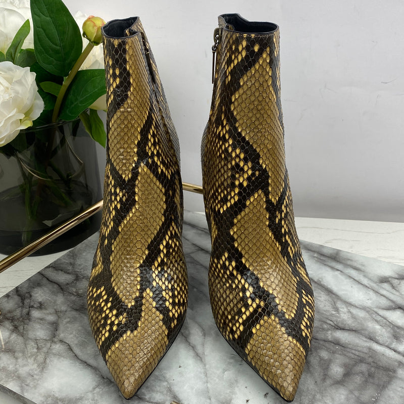 Yves Saint Laurent Brown Python Boots Size 40.5