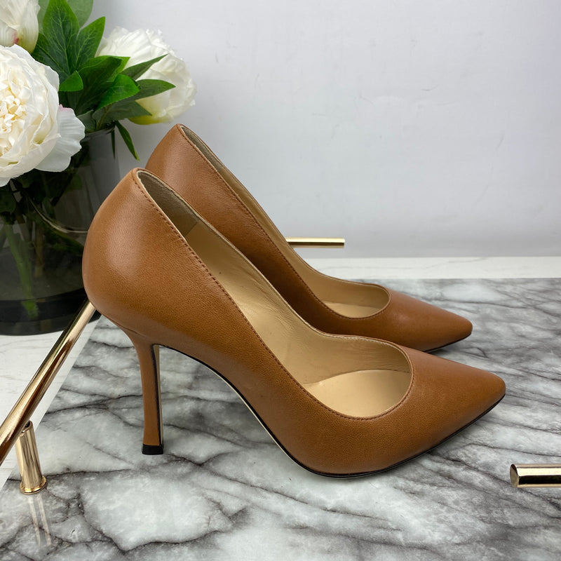 Sergio Rossi Tan Leather Court Heels Size 35.5