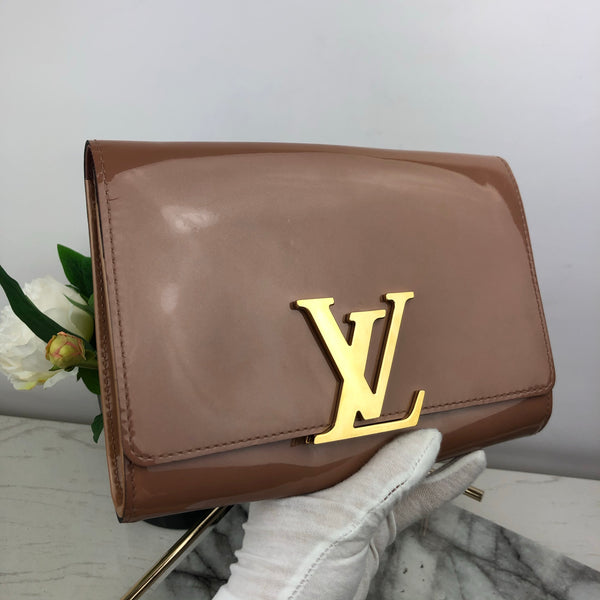 Louis Vuitton Dusty Pink Patent Clutch with Gold LV Clasp