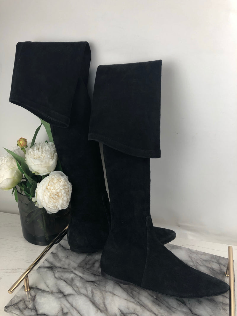 Isabel Marant Black Suede Over The Knee Boots Size 40 (UK6)