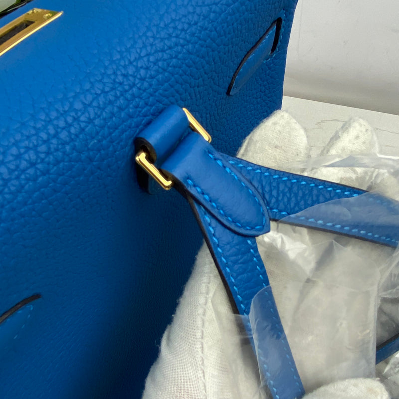 Hermes Sac Kelly Ado 22cm in Mykonos Clemence and Gold Hardware