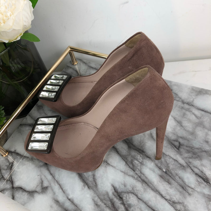Miu Miu Dusty Pink Suede Heels with Square Crystal Buckle Size 38