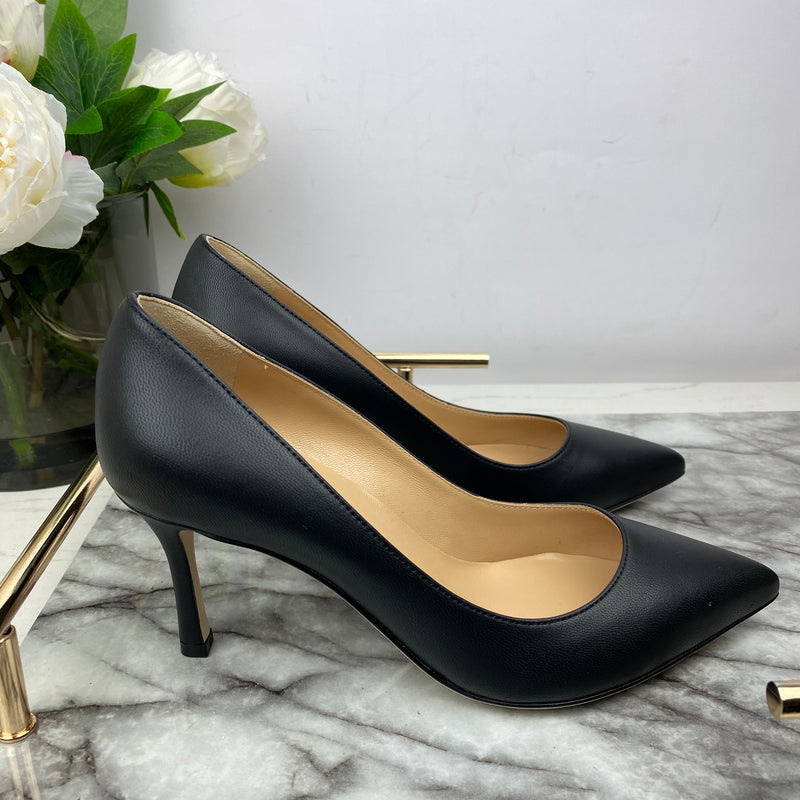 Sergio Rossi Black Leather Court Heels Size 35.5