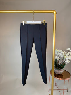 The Row Black Straight Leg Trousers with Satin Sides Size 32
