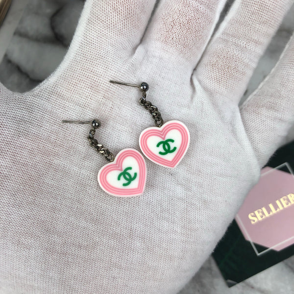 Chanel Pink Love Heart Earrings with Green and Yellow CC