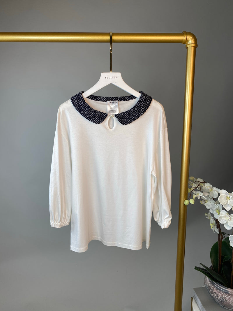 Chanel White Top with Tweed Collar Size 34