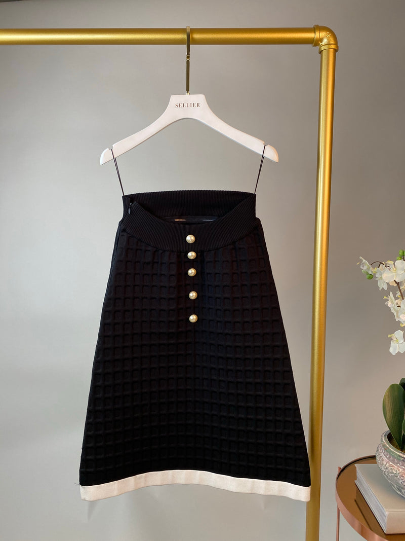 Chanel Black Triangle Skirt with Pearl Detailing Size 36