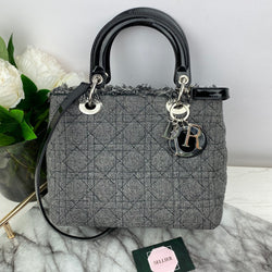 Christian Dior Medium Lady Dior in Black and White Tweed with Patent Leather and Silver Hardware