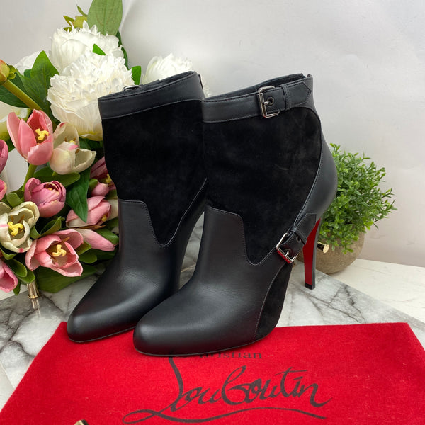 Christian Louboutin Black Leather and Suede Buckle Boots Size 37