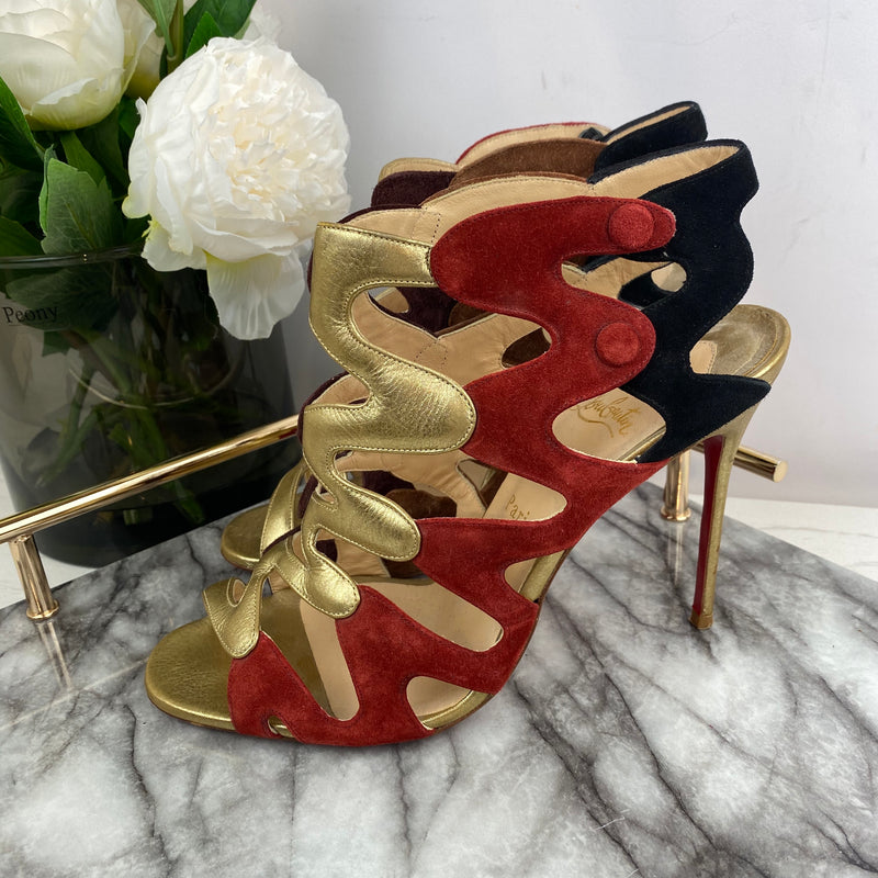 Christian Louboutin Gold and Suede Spiral Heels Size 40