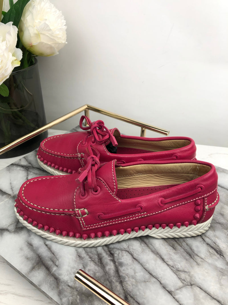 Christian Louboutin Pink Studded Loafers Size 36