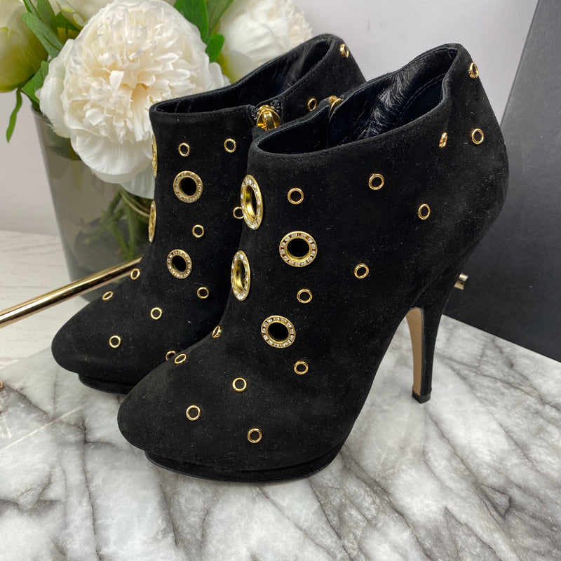 Giuseppe Gold and Crystal Eyelet Boots in Black Suede Size 35