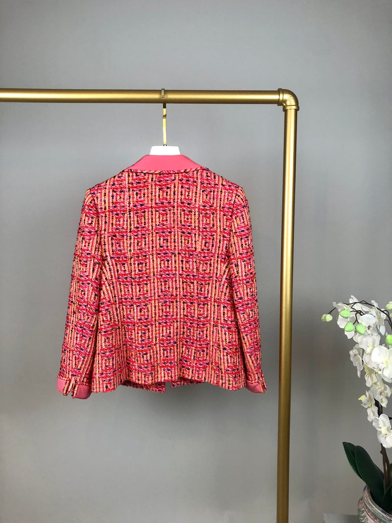 Chanel Hot Pink and Mustard Shimmer Tweed Set Size 36 (UK 8)