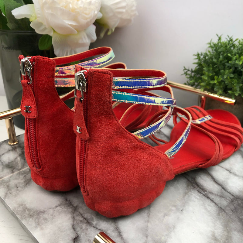 Chanel Red Suede Sandals with holographic Detail Size 39.5
