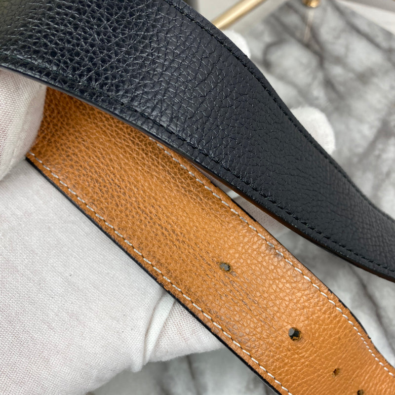Hermes Black and Tan Reversible Belt with Palladium H Buckle Size 115