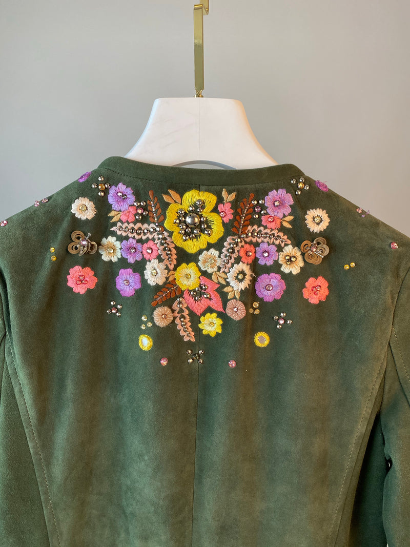 Emilio Pucci Olive Green Suede Tassel Embroidered Jacket Size 34