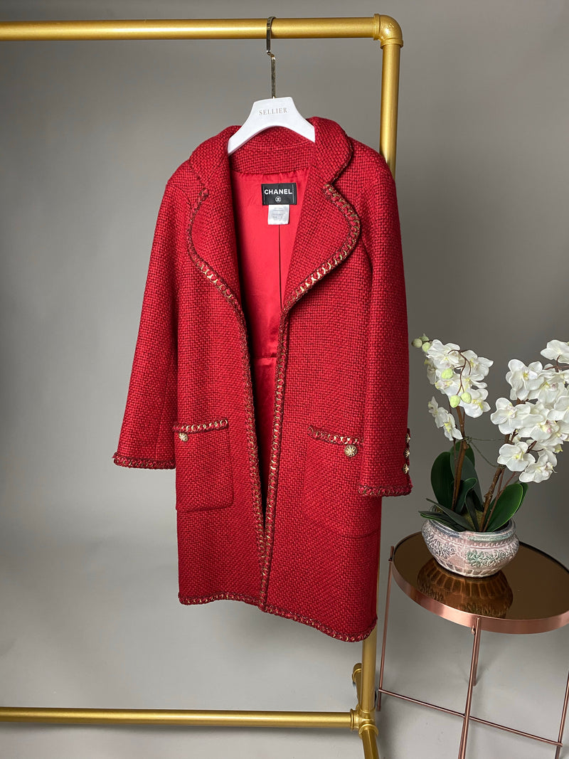Chanel Red and Gold Chain Detail Wool Coat Size 36